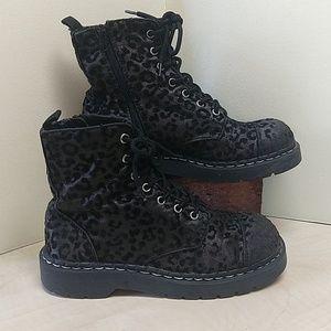 T.U.K Anarchic Vegan Leopard Combat Boots Size 9